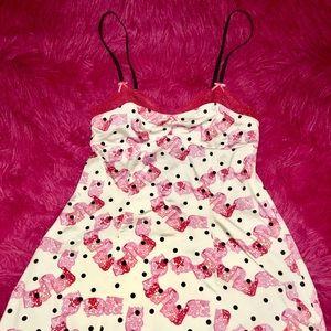 Betsey Johnson pink lace and polka dots slip dress